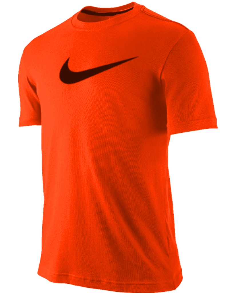 nike mens training t shirt frontline dri fit neon total orange black new ebay. Black Bedroom Furniture Sets. Home Design Ideas