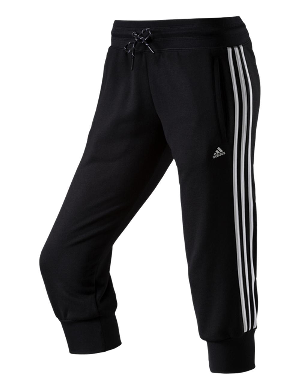 adidas damen 3 4 trainingshose hose capri pants 3s schwarz. Black Bedroom Furniture Sets. Home Design Ideas